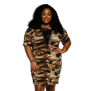 Xehar Womens Plus Size Sexy V-Neck Camouflage Bodycon Short Dress