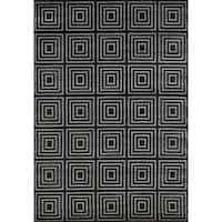 Concord Global Lumina Maze Black Area Rug - 6'7 x 9'3