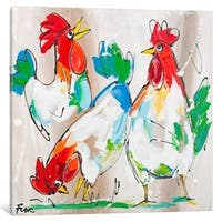 "iCanvas ""Cockerels Talking"" by Art Fiore Canvas Print"