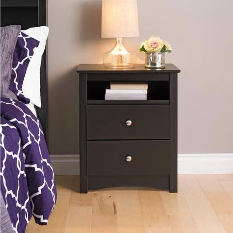 Broadway Black 2-drawer and Open Cubby Nightstand