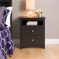 Laurel Creek Edward Black 2-drawer and Open Cubby Nightstand
