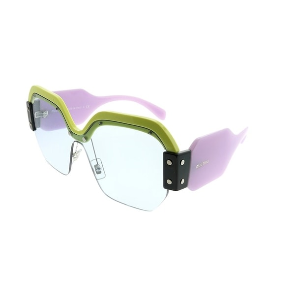 982ba8180030 Miu Miu Square MU 09SS Sorbet VIV4Q2 Woman Yellow Pink Frame Light Blue Lens  Sunglasses