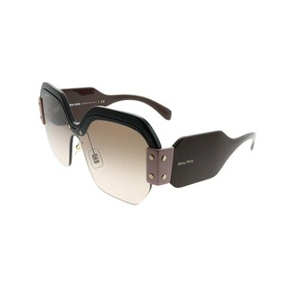 Miu Miu Square MU 09SS Sorbet 1ABAD3 Woman Black Brown Pink Frame Brown Gradient Lens Sunglasses