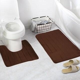 2 In 1 Bathroom Memory Foam Mat Toilet Rug Non-Slip Floor Carpet (2 options available)