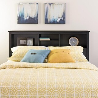 Laurel Creek Broadway Black Laminate Wood Full/Queen Bookcase Headboard