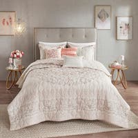 Madison Park Evelyn 6 Piece Cotton Printed Reversible Coverlet Set