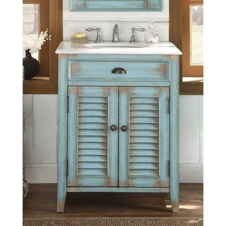 modetti palm beach 26 inch single sink bathroom vanity with marble top - Coastal Bathroom