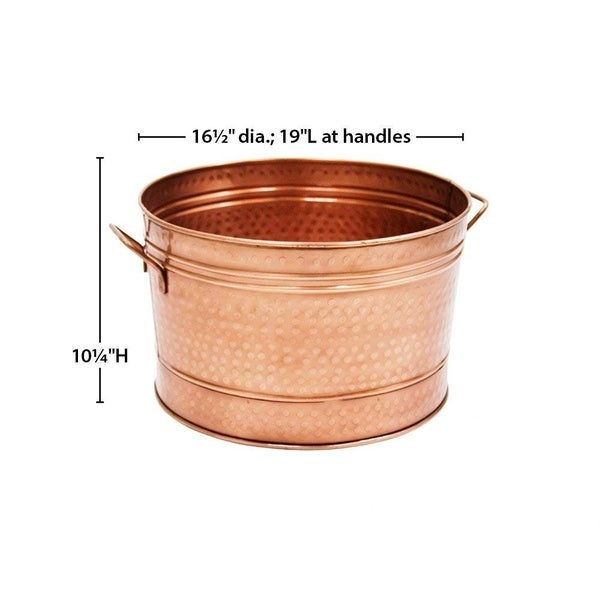 Hammered Pattern Galvanized Farmhouse Style Tub, Copper
