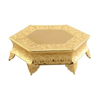 Hexagonal Metal Wedding Cake Stand, 16 inches, Gold