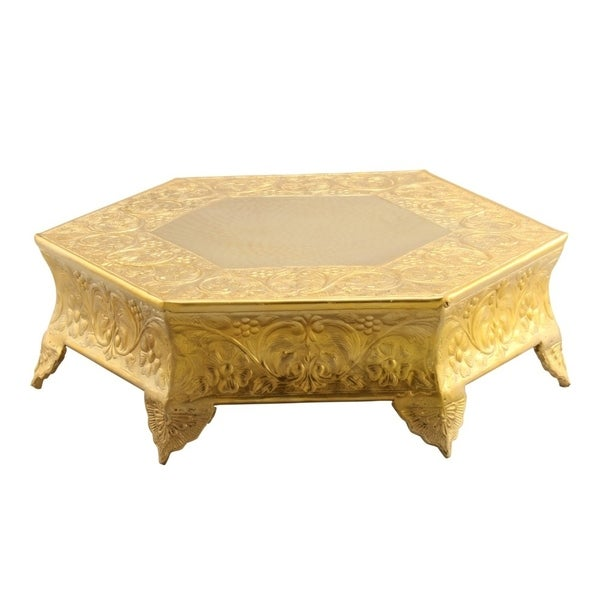 Hexagonal Metal Wedding Cake Stand 14 inches, Gold - Free Shipping ...