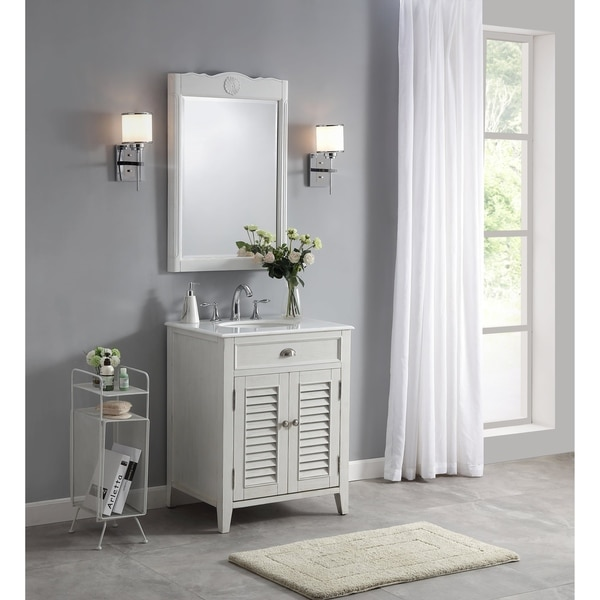 . Modetti Palm Beach 26 inch Single Sink Bathroom Vanity with Marble Top