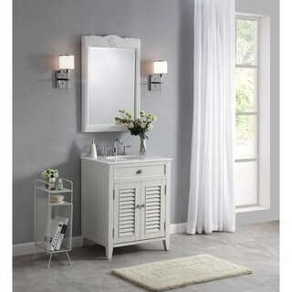 Modetti Palm Beach 26-inch Single Sink Bathroom Vanity with Marble Top