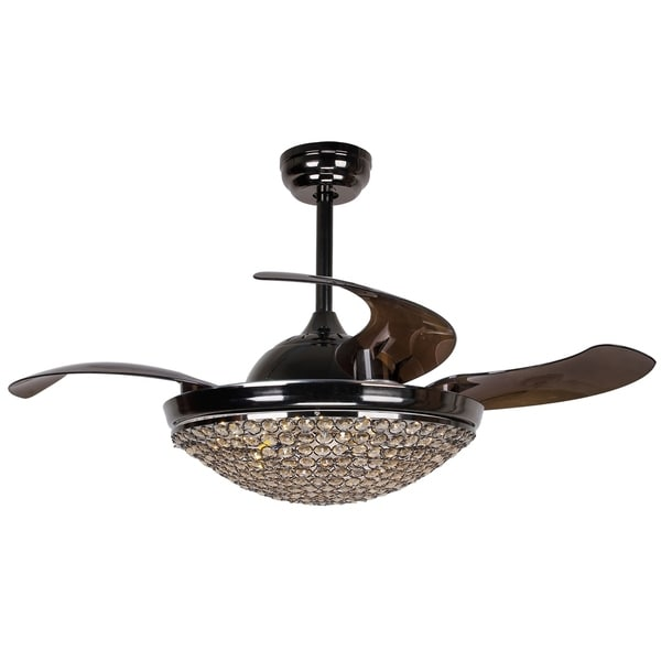 Restracable 4 Blades Led Dimmable Crystal Ceiling Fan With Remote
