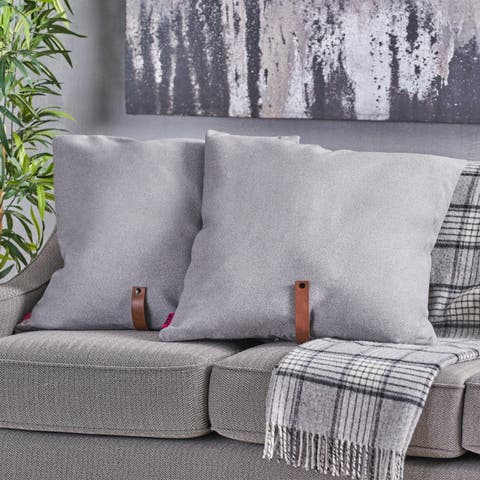 """Edinburgh Mid Century 25"""" Square Fabric Pillow with Faux Leather Strap (Set of 2) by Christopher Knight Home"""