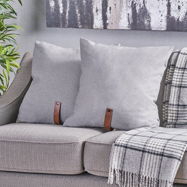 """Edinburgh Mid Century 20"""" Fabric Pillow with Faux Leather Strap (Set of 2) by Christopher Knight Home"""