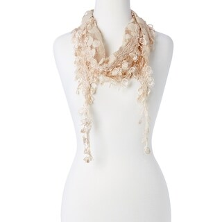 "Women's Tassel Lace Fringe Lightweight Stole Fashion Scarf Necklace Infinity Scarves Wrap - 62"" x 7"""