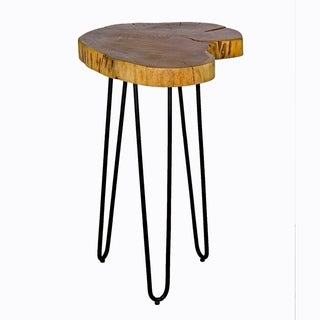 Hairpin Natural Live Edge Wood/Metal Round End Table