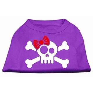"""Mirage Pet Products Skull Crossbone Bow Screen Print Shirt Purple XL - 16"""" L"""