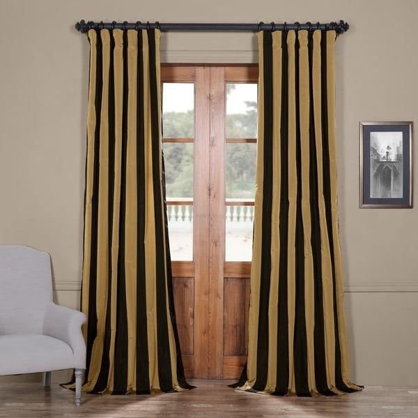 Shop Exclusive Fabrics Black Gold Stripe Faux Silk
