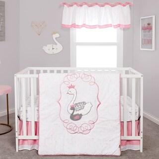 Swans 3 Piece Crib Bedding Set