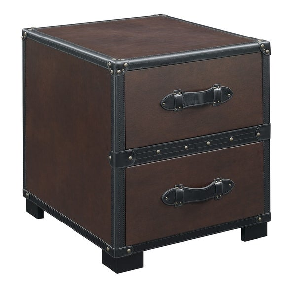 Picket House Furnishings Newport Cherry Finish Faux Leather End Table