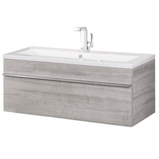 Cutler Kitchen & Bath Trough Collection Organic Wood Finish Modern Wall Mount Bathroom Vanity