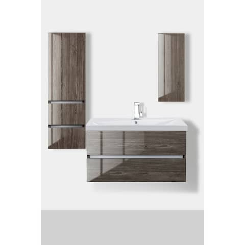 """Sangallo Gloss Collection 36"""" Wall Mount Bathroom Vanity - 2 Drawer with Top, Fossil Oak"""