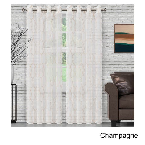 Superior Embroidered Lattice Sheer Grommet Curtain Panel Pair