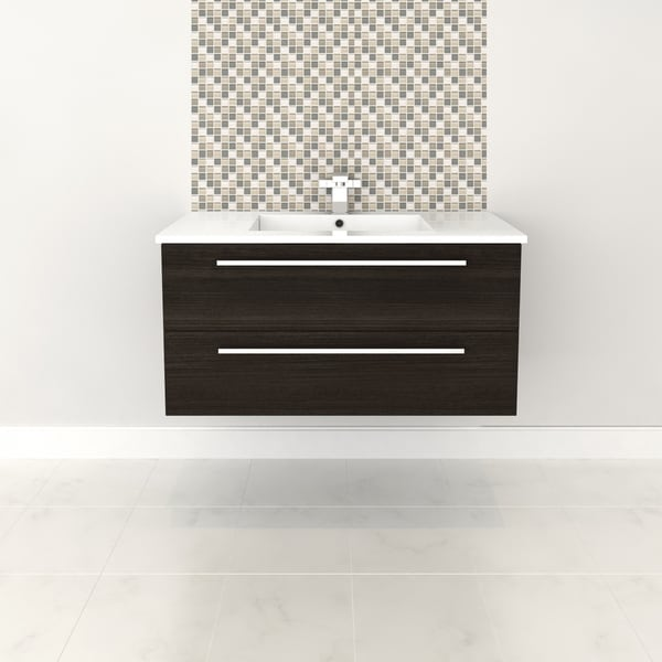 """Silhouette Collection 36"""" Wall Mount Bathroom Vanity - 2 Drawers With Top, Dark Chocolate"""