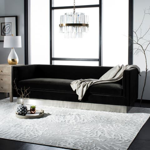 Safavieh Couture Marquette Giotto Shale Velvet Commercial Grade Sofa