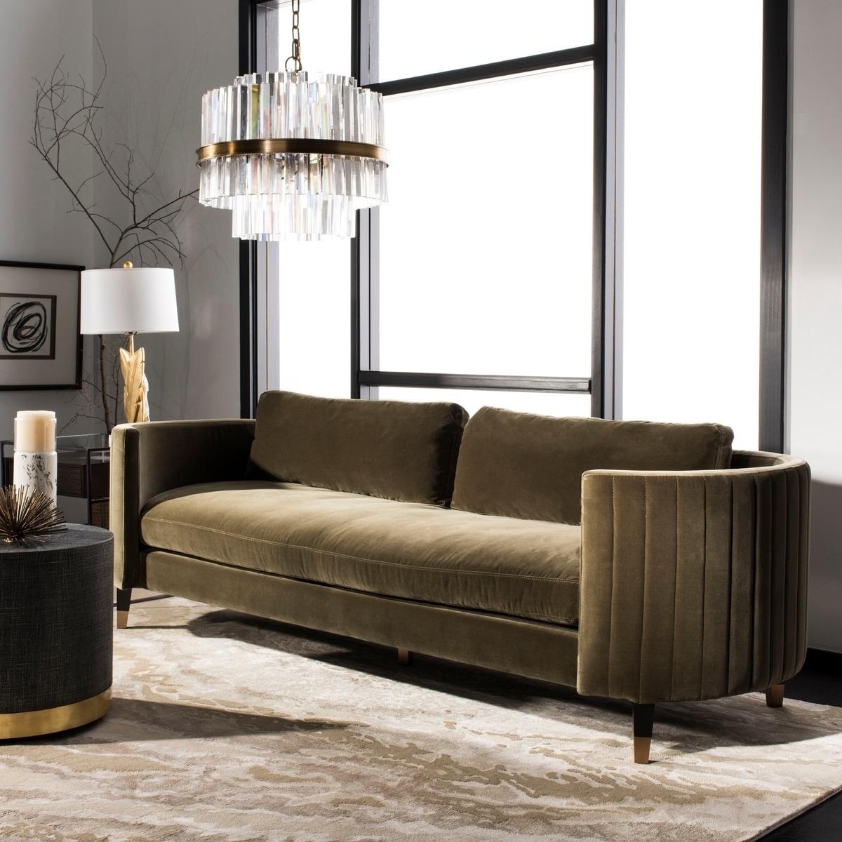 Safavieh Couture Winford Olive Green Velvet Commercial Grade Sofa Overstock 22093367
