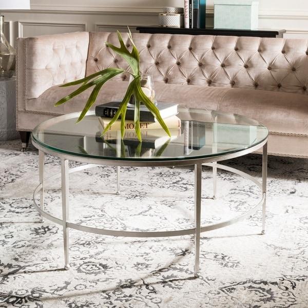 Antique Silver Glass Coffee Table: Shop Safavieh Couture Edmund Antique Silver Glass Cocktail