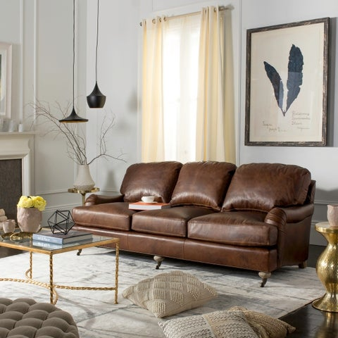 "Safavieh Couture Calvin Brown Leather Sofa - 89""w x 41""d x 35""h"