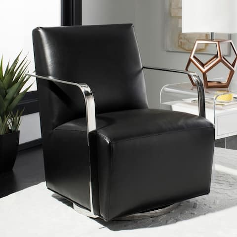 Safavieh Couture Lionel Black Bonded Leather Commercial Grade Swivel Arm Chair