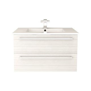 "Silhouette Collection 30"" Wall Mount Bathroom Vanity - 2 Drawers With Top, White Chocolate"