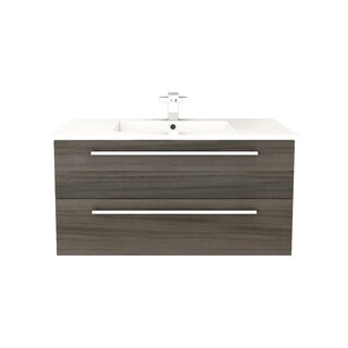 Cutler Kitchen & Bath Silhouette Collection Zambukka Wood Finish Wall Mount Bathroom Vanity with 2 Drawers and Top