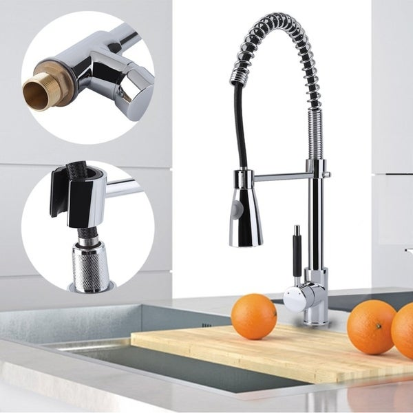 Kitchen sink single handle hot and cold faucet chrome