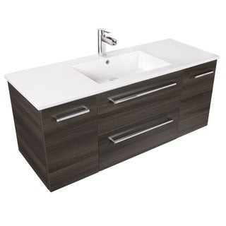 Silhouette Collection Zambukka Marble Top and Wood 48-inch Wall Mount Bathroom Vanity with 2 Doors and 2 Drawers