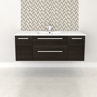 """Silhouette Collection 48"""" Wall Mount Bathroom Vanity - 2 Doors, 2 Drawers With Top, Dark Chocolate"""