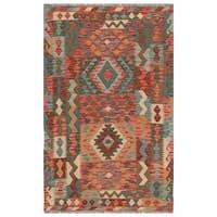 Handmade Herat Oriental Afghan Hand-woven Wool Kilim (3'1 x 4'10) (Afghanistan)