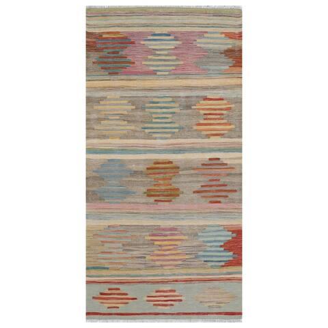 Handmade One-of-a-Kind Wool Kilim (Afghanistan) - 3'1 x 6'4