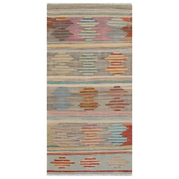 Handmade One-of-a-Kind Wool Kilim (Afghanistan) - 3'1 x 6'4. Opens flyout.