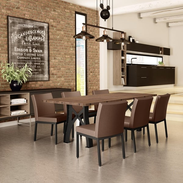 Amisco Sierra Table with 6 Perry Chairs Dining Set