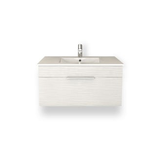 "Textures Collection 36"" Wall Mount Bathroom Vanity - 1 Drawer With Top, Contour White"