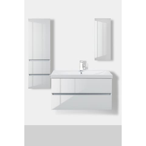 "Sangallo Gloss Collection 36"" Wall Mount Bathroom Vanity - 2 Drawer with Top, Sunny White"