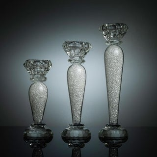 Premium 6'', 7'' & 9'' Crystal Candlestick (3-Piece Set), Radiant Gems Inside Stem Contemporary Elegance & Style