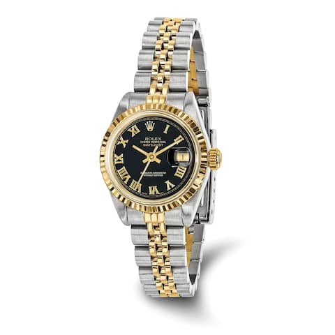 Quality Pre-owned Rolex Steel/18ky Ladies Black Dial Datejust Watch