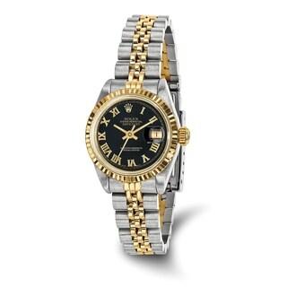 Certified Pre-owned Rolex Steel/18ky Ladies Black Dial Datejust Watch
