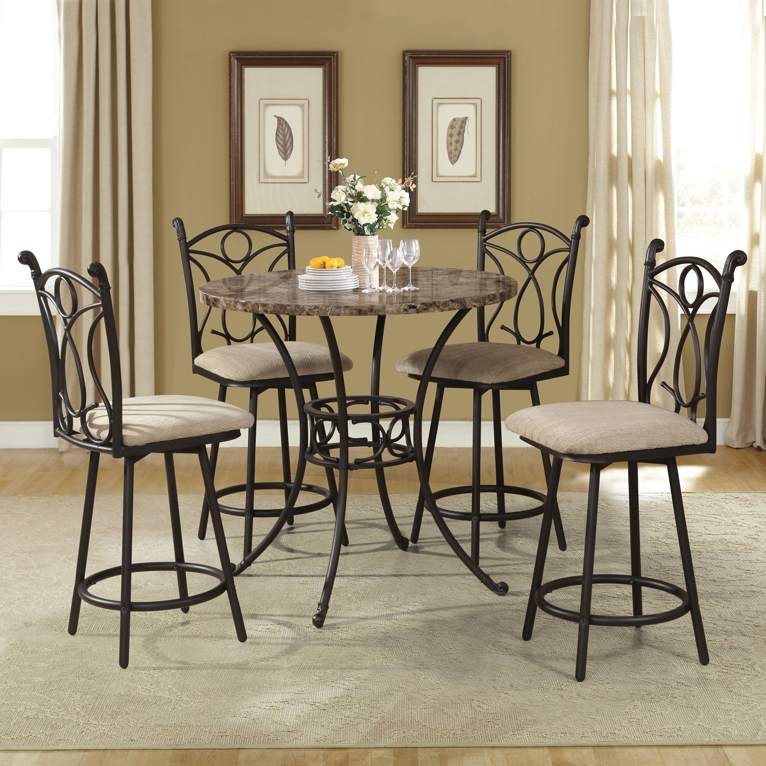 5 Piece Brown Metal Dining Set with Counter Height Faux ...