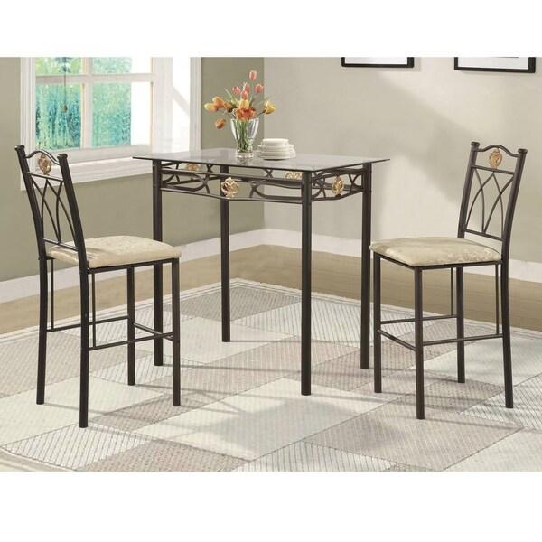 Shop Cloville 3-piece Metal And Glass Bistro Set Dining